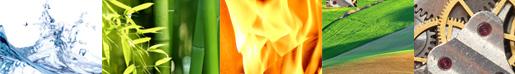 Banner der 5 Elemente von Feng shui: Wasser, Holz, Feuer, Erde, Metall